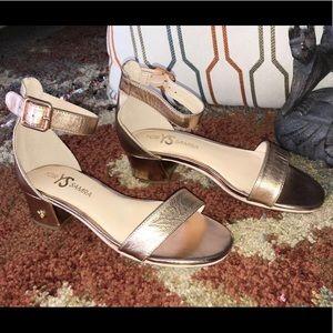 NWNT Yosi Samra Daniel Rose Gold Leather Heel